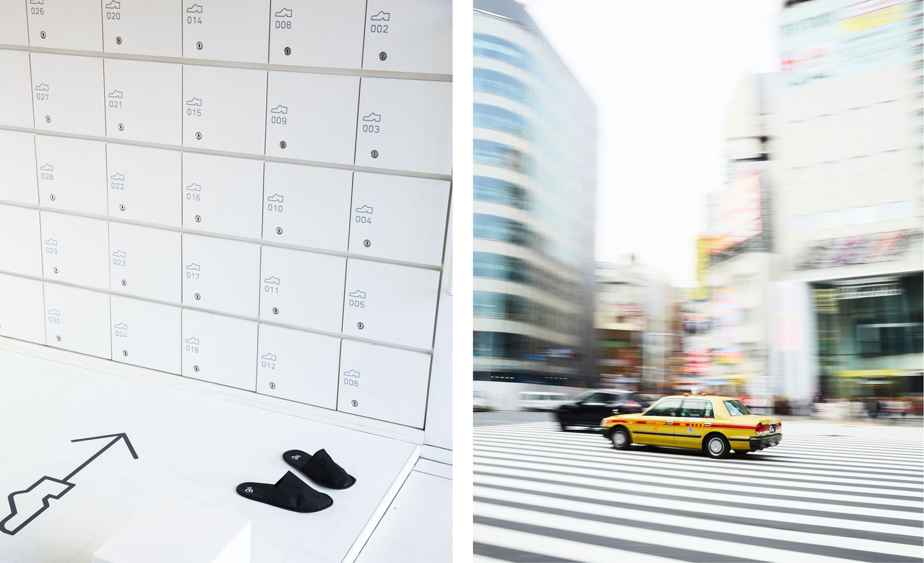 Japanese pedestrian crossing and taxi